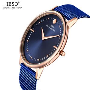Strap malha IBSO 7.5MM Ultra-fino Mens Relógios Blue Steel Quartz Relógio Men Casual moda Masculino Relógio Relógio Masculino