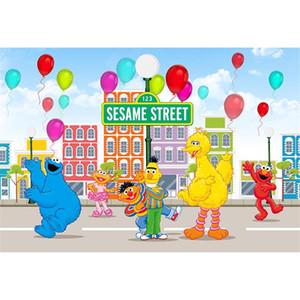 Priorità bassa di tema di fotografia del partito di compleanno di Sesame Street palloni variopinti Priorità bassa dello studio di foto dei bambini del bambino dei bambini di Elmo World