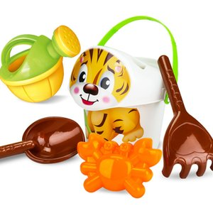 JOY-JOYTOWN 6 Pcs set Bucket shovel Cute Cartoon Seal Animals Tiger Panda Crocodile Sand Play Bath Outdoor Toys Gifts for Kids