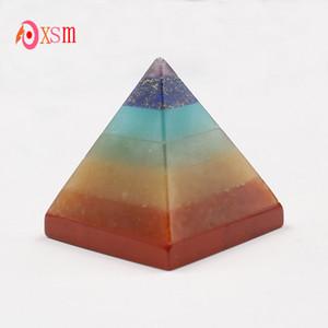 xinshangmie 7 Chakra capas de energía cristalina pirámide Crystal Healing Reiki equilibrio energía estatuilla