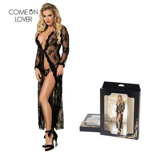 Comeonlover Sexy Lace Robe Manica lunga Robes Donna caviglia-Lunghezza Plus Size 5XL Robe Dress Hot pigiama Babydoll Sleepwear RT80232