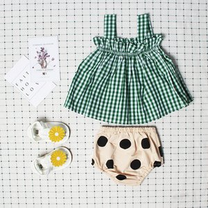 2020 New Arrival Girls Top Children Green Grid Suspender Cotton Blouse Fashion Summer Toddler Newborn Clothes