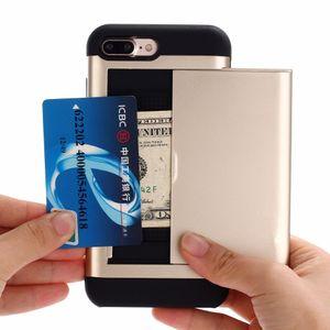 300pcs / Lot Slide Portefeuille Slot Pour Carte de Crédit Pc Dur Téléphone Cas Pour Iphone 6 6 s Plus 7 7plus Double Couche Tpu Armure Antichoc Antichoc
