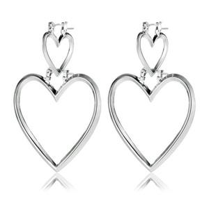 Kadınlar Büyük Kalp Küpe Bildirimi Altın Büyük Küpe Mücevher Oorbellen Brincos için 2017 Çift Kalp Dangle Küpe