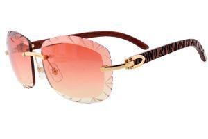 جديدة عدسة الأزياء الراقية النقش نظارات 8300715 النقش الطبيعي نمر خشبية مرآة الساقين النظارات الشمسية الفاخرة، نظارات حجم: 60-18-135