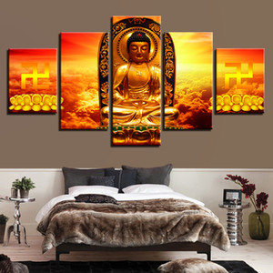 Холст Живопись Home Decor Рамки 5 шт Золото статуя Будды цветок лотоса Изображения Модульное HD отпечатков стены искусства