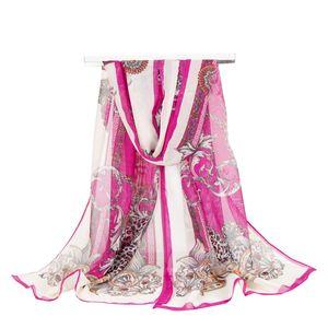 2018 été impression foulard en soie chaîne de mode impression foulard en mousseline de soie femmes Pareo Beach Cover Up Wrap Sarong crème solaire Long Cape Femme
