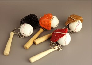 Mode Sport Baseball Porte-clés Gants Boule En Bois Batte De Baseball Porte-clés Porte-clés fan cadeau créatif porte-clé