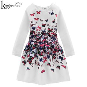 KEAIYOUHUO белые платья для девочек цветы печать с длинным рукавом бабочка формальные девушки одеваются подростки платье партии Детская одежда