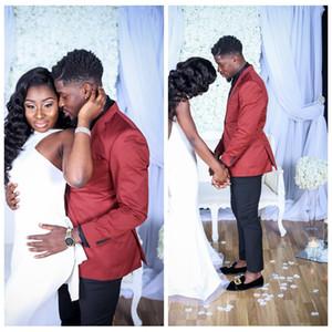 2018 Yeni Moda Erkekler Düğün Smokin Slim Fit Özel Erkekler Için Resmi Resmi Yaka Suits Düğme Resmi Iş Damat Suit Ceket + ...