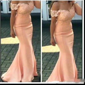 2019 Nuevos vestidos de dama de honor baratos para bodas Melocotón con mangas Apliques de encaje Sirena hasta el suelo Formal Maid of Honor Vestidos Tallas grandes