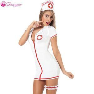 2018 DangYan plus Größe sexy Teddy Krankenschwester Kostüm mit Beingurt SM Cosplay sexy Kostüme erotische Kleid Erwachsenen sexy Dessous