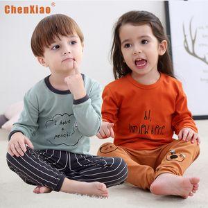 Ropa para niños de otoño e invierno nueva ropa interior de algodón para niños conjunto de dibujos animados de pijamas de niñas de servicio a domicilio del niño caliente