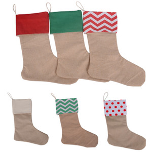 New High Quality Canvas Christmas Stocking Gift Bags Canvas Christmas Decorations Xmas stocking Large Plain Burlap Decorative Socks HH7-133