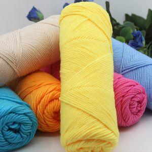 vente en gros 50 g / pcs fil naturel de fil de coton de lait de soie épais et doux pour le fil d'armure de fil de crochet bébé laine à tricoter