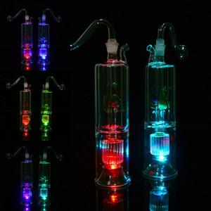 "LED 6.3 ""polegadas Duplo Reciclador Dab Rigs Inline Stero Matrix Perc Tubulações De Água Bongos 10mm Conjuntos Narguilés De Vidro Concentrado Bubblers Oil Rigs"