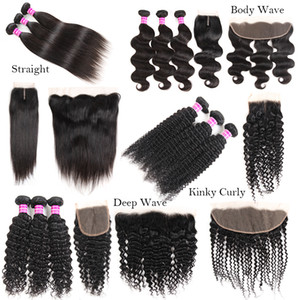 Nuevas llegadas Raw Indian Virgin Hair Straight Body Deep Water Wave Kinky Curly Human Hair Weaves Bundles con cierre Extensiones frontales Trama
