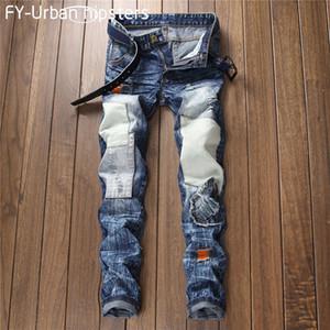 mens 2018 moda negro rasgado cal un jeans slim masculina parche vintage jeans hombres Casual más tamaño patchwork recto mens