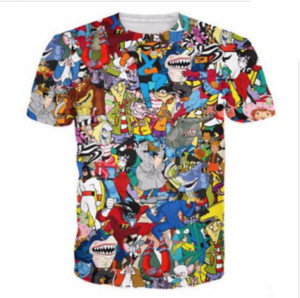 Wholesale-Newest Fashion Mens Womens Summer Style Extreme 90s Kid Cartoons Collage Funny 3D Print Casual T-Shirt DXR0074