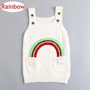 INS Niños Niñas Vestidos de algodón arco iris Bebés Niñas Suéter de punto Liguero Falda Primavera Otoño Ropa para niños 1-4 Años envío gratis
