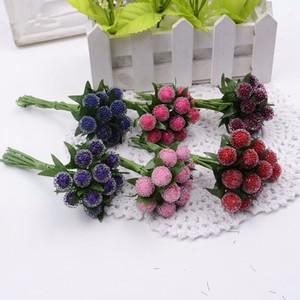 12 pz bacca artificiale cherry red stamens pearl wedding simulare vetro melograno matrimonio decorazioni per la casa fiori artificiali