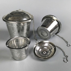 Durável 3 Tamanhos de Filtro De Chá De Prata Reutilizável 304 Malha Inoxidável Bola De Ervas Tea Coador Teakettle Locking Chá Filtro Infusor
