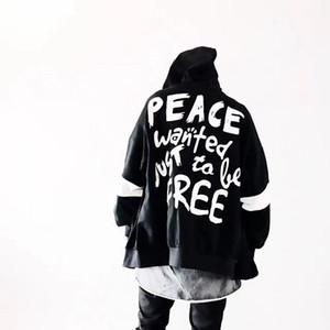 Autumn Mulheres Homens Hoodies Hip Hop Moda Headwear Sweatshirts Peace Hoodie Black White Us Tamanho S -XL letra impressa Tops