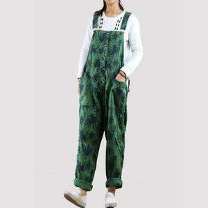 2018 Verão Coreano Moda Plus Size Macacão Solto Perna Larga Calças Mulheres Rosa Verde Azul Lavado Deixa Macacões de Impressão