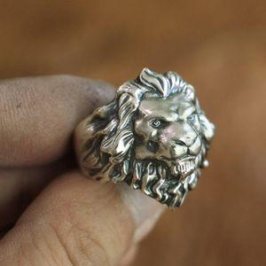 LINSION 925 Anillo de rey de león de plata esterlina Detalles altos Anillo Biker Punk para hombre TA109 EE. UU. Tamaño 7 a 15
