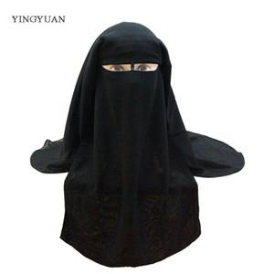 Bufanda Musa Musulmana Islámica 3 capas Niqab Burqa Bonnet Hijab Cap Velado Sombrero Negro Cara Cubierta Abaya Estilo Wrap Head Cover S18101904