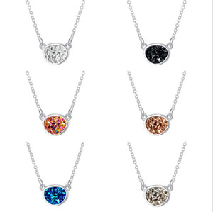 Mode Unregelmäßigen Kreis Oval Druzy Drusy Halskette Versilbert Faux Kristall Harz Stein Frauen Schmuck Zubehör