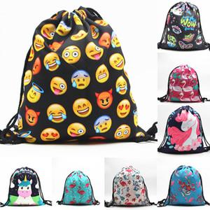 2018 44 Stili Stampato Unicorn Drawstring Bag Cartoon Unicorn Zaini Borse da viaggio Borse da spiaggia 32 * 39cm Regalo per bambini