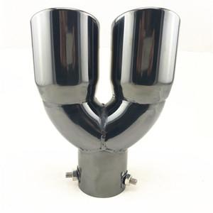 """Tubo di scarico marmitta da 2,5 """"in acciaio inossidabile nero con doppio terminale di scarico"""