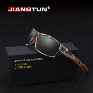 JIANGTUN Sıcak Trendy Camo Siyah Polarize Güneş Gözlüğü Erkek Kadın Marka Tasarımcı Spor Güneş Gözlükleri UV400 Sürüş Gafas D18101302