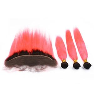 Dark Root # 1B / Pink Ombre Virgin Indian Tramas de cabello humano 3 paquetes de ofertas Rectas y sedosas con Ombre Pink Full Lace Frontal Closure 13x4