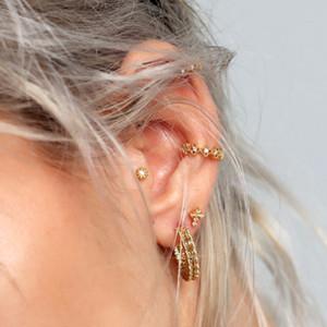 Romantic lace four clover ear cuff earring multi piercing stack fashion jewelry 925 sterling silver girl cute ear cuff