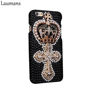 Laumans Custom Rhinestone Phone Case For Iphone 4s 5s 5c 6 6s Plus Retro Crown Pearls Skins Cover For 7 Plus 8 Plus Diamond Case