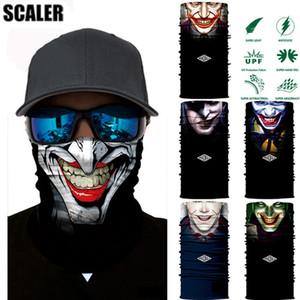 3D Seamless Clown Joker Fans Magic Tube Halswärmer Gesichtsmaske Stirnband Bandana Headwear Snowboard Fahrrad Kopftuch Halloween Buffs Bandana