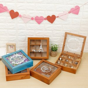 Retro Wooden Box Jewelry Case Potted Plants Box Desktop Organizer Cosmetics Storage Nail Polish Display Stand Rack