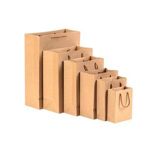 100 Stücke Brown Kraftpapier Einkaufen Waren Party Geschenktüten mit Seil Griffen 16 Größen Großhandel