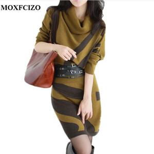 MOXFCIZO Осень Зима женщины платья с длинным рукавом вязать свитер платье водолазка тонкий леди принять талии пакет хип платья женщин