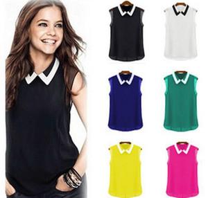 Las mujeres del estilo de la moda de Euro sin mangas giran el cuello blusa de la gasa del color caramelo elegante blusa de la señora envío gratis