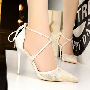 Summer Sexy High Heels Women's Shoes Shallow Mouth Pointed Toe Lace Cross Strap Female Sandals D'Orsay 7 Colors