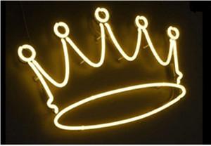 Regalo per insegne al neon Yellow Crown Beer Bar Pub Store Party KTV Negozio di fiori Vetrine per esposizione al neon Illuminazione al neon 17x14