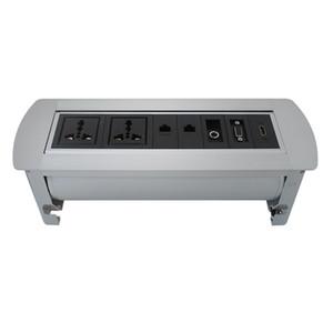 откиньте socekt с 2 универсальными источниками питания, 2 LAN, 3.5Audio и HDMI настольным разъемом для конференц-зала / офиса / другого