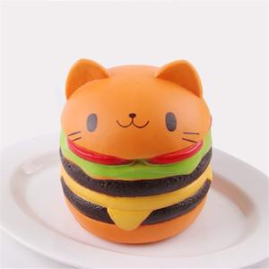 Squishy Cat Head Burger PU Slow Rising Soft Simulation Cat Visage expression hamburger release lente rebond Jouets Livraison Gratuite B0119