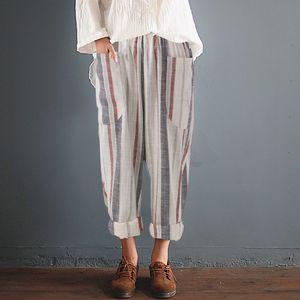 ZANZEA 2018 الصيف النساء مخطط سروال مطاطا عالية الخصر القطن الكتان سروال الحريم Pantalon فام بنطلون بنطال رياضة زائد الحجم
