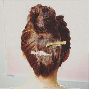 Мода Европа stlyle Простой Гребень Заколка Золото или серебро цвета гальванический для девочек любовника волос клипа дара