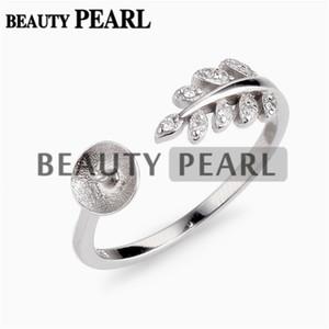 Configuración de anillo de diseño de hoja pequeña 925 Sterling Silver Pearl Semi Mount Resultados de la joyería DIY 5 piezas