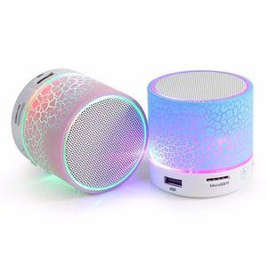 2018 whole sale Fashion speaker portable Crackle texture LED light Colorful support U Disk enceinte bluetooth parlante bluetooth portatil